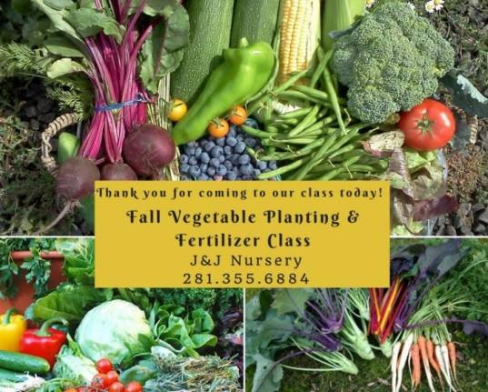 Fall Vegetable Planting and Fall Fertilizer Class