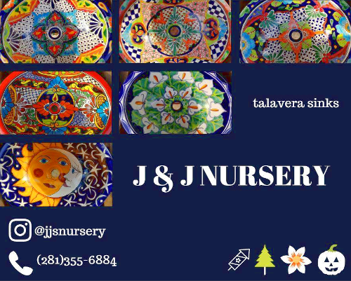 Talavera sinks at JJs Nursery, Spring, Tx.