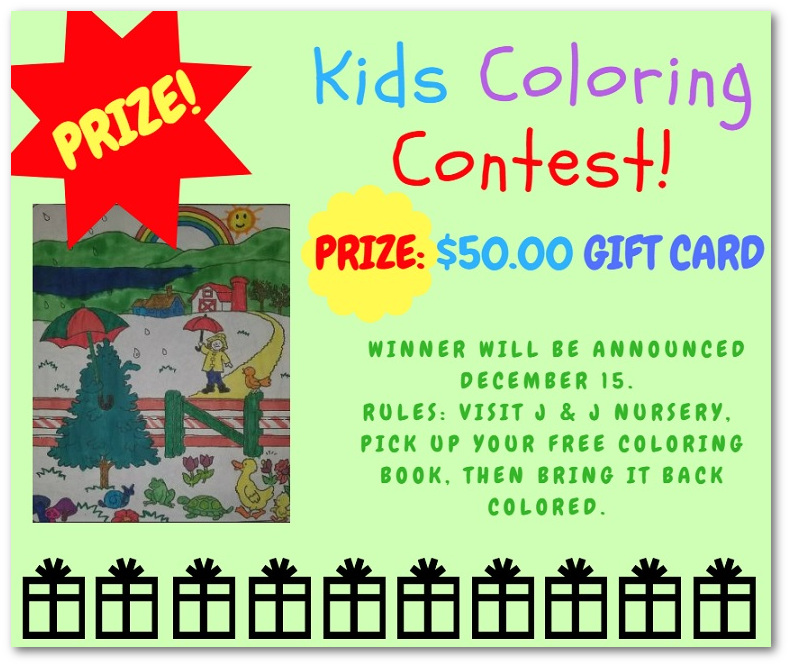 Christmas Tree Coloring Book Contest - J & J Nursery, Spring ...