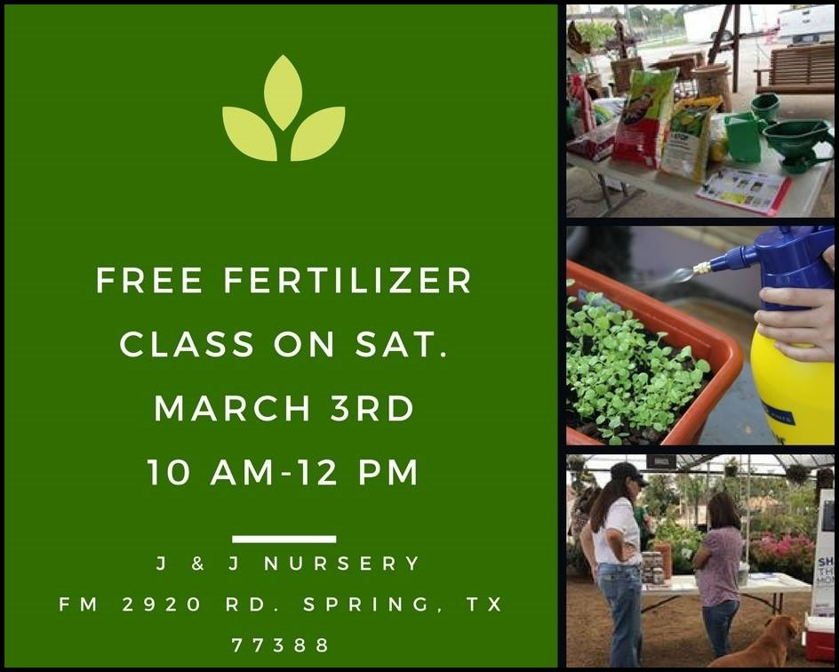 Free fertilizer classes for March 3 and 10th!