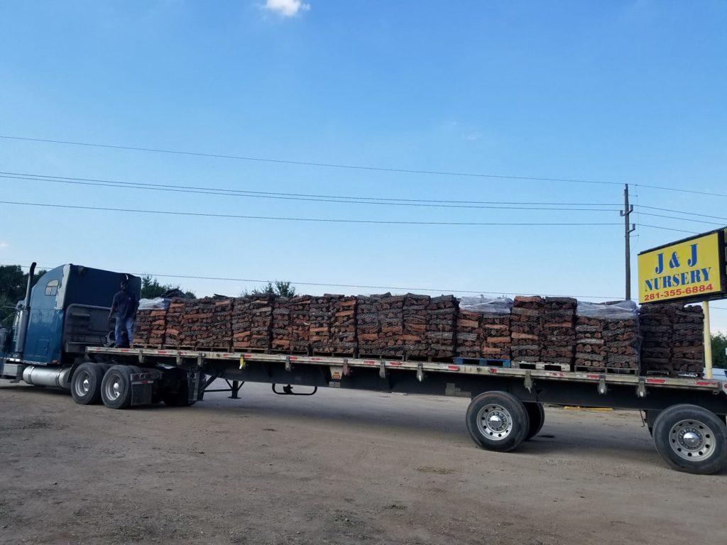 Mesquite firewood arrived this week at J&J Nursery, Spring, TX!