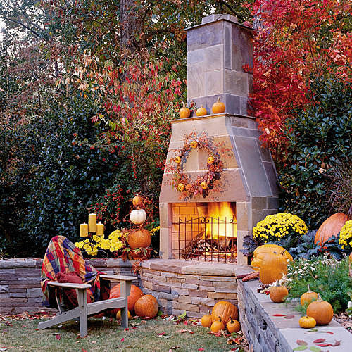 You can decorate your outdoor (or indoor) fireplace with pumpkins from J&J Nursery!