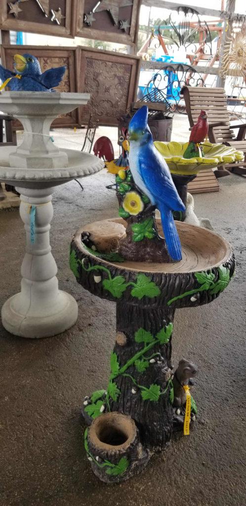 Ivy birdbath.