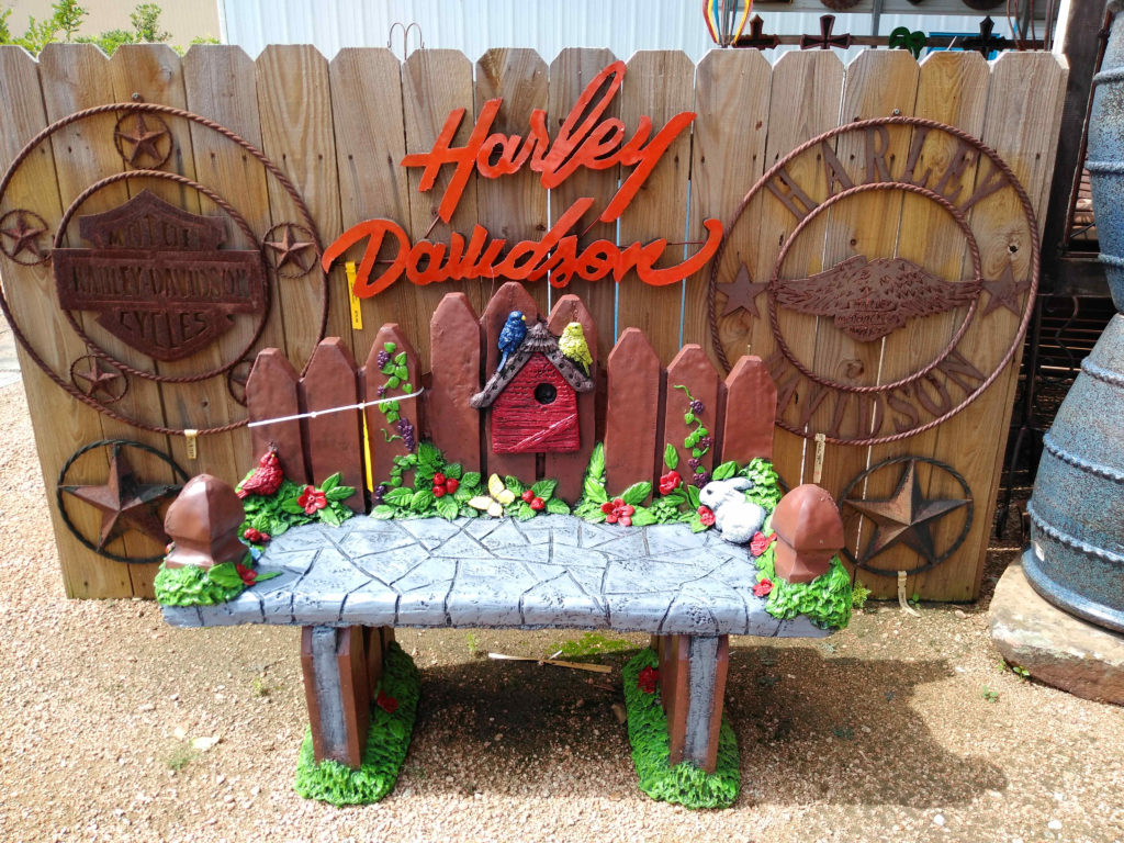 Cement bench and Harley Davidson Iron Decorations!