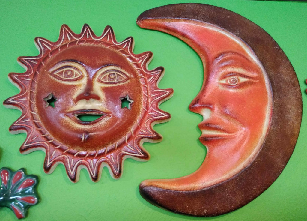 Mexican pottery, moon and sun!