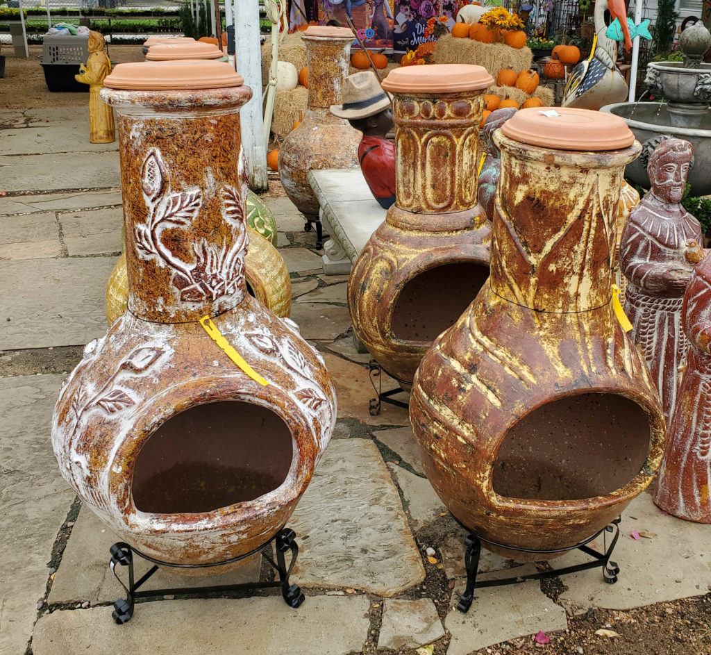 Clay chimeneas in many colors and styles!