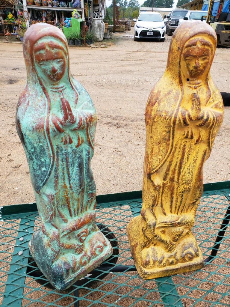 Mary clay statue.
