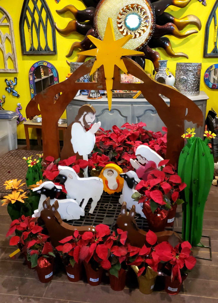 Jesus, Mary and Joseph metal nativity scene. Comes in a set with sheep and donkey. Great for outdoor or indoor Christmas scenes!