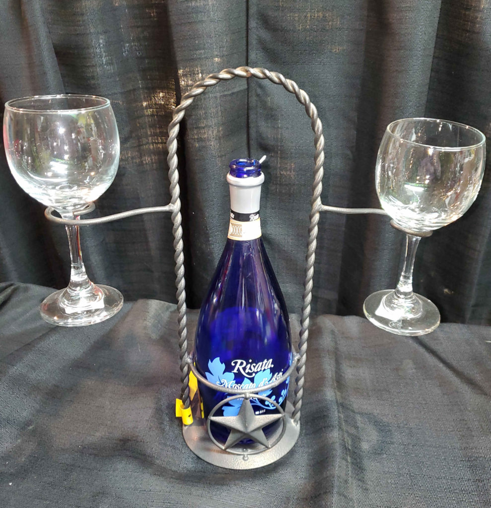Decorative Metal Wine Glass Holder Set.