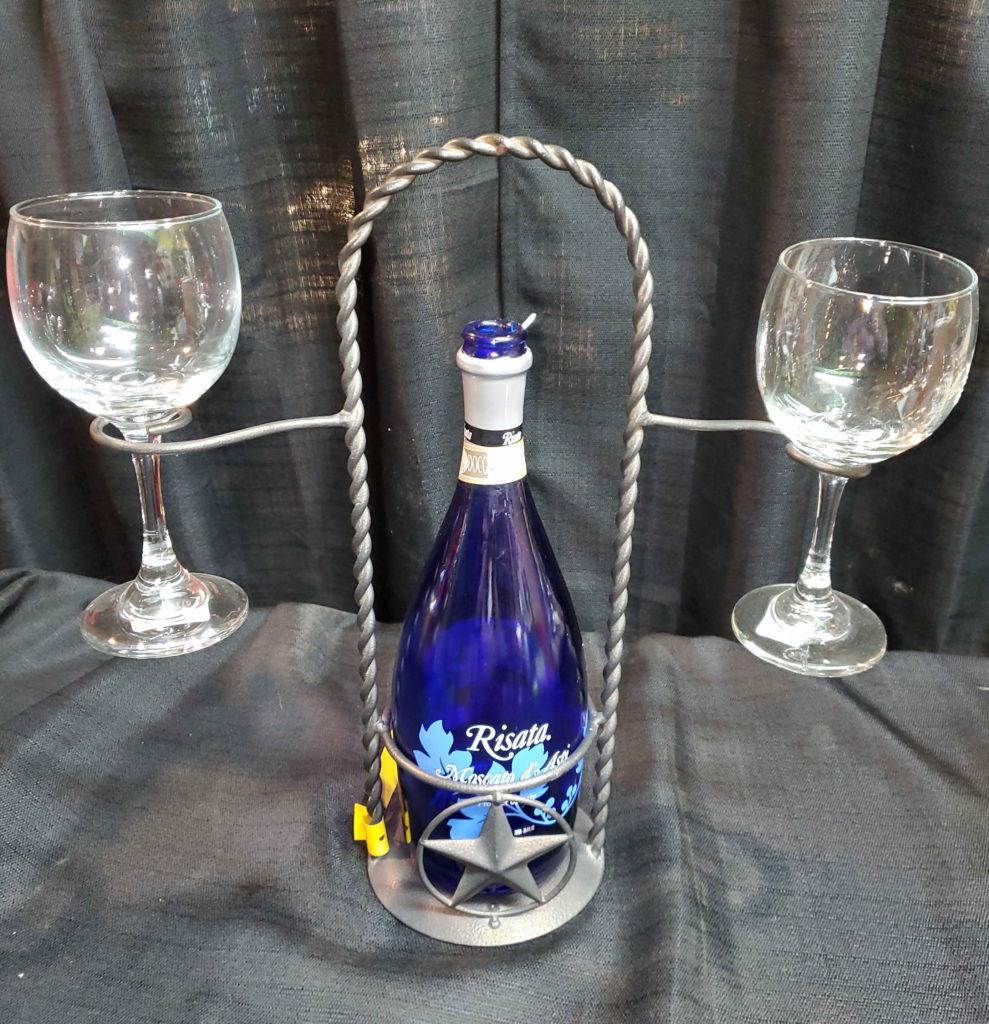 Decorative Metal Wine Glass Holder Set.