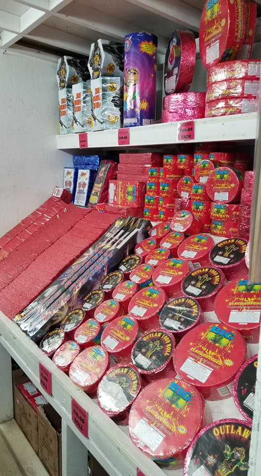 Huge variety of firecrackers and firecracker rolls at J & J Nursery, Spring, TX