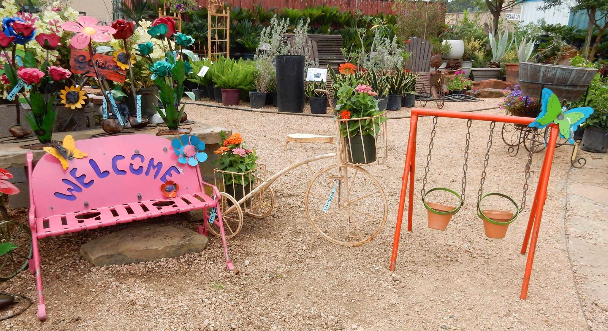 Yard decorations, Cement Statues, Talavera Pottery, Iron Decorations and more at J&J Nursery, Spring, TX.