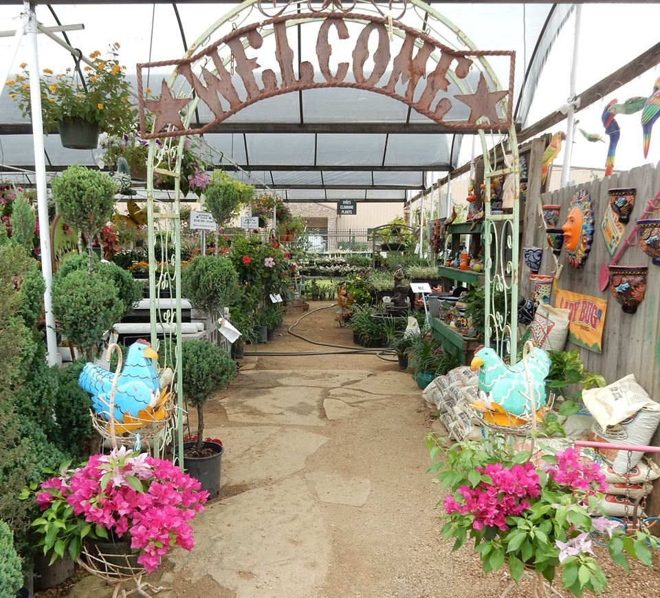 Welcome entrance to the plant nursery at J&J Nursery, Spring, TX!